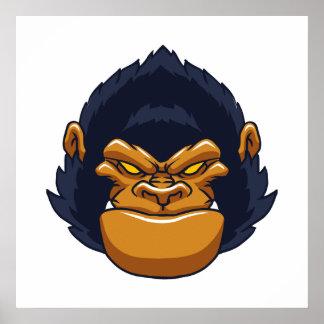 cara enojada del gorila del mono póster
