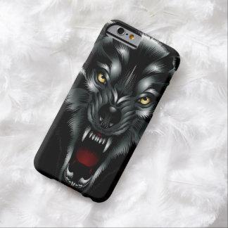 Cara enojada del lobo funda para iPhone 6 barely there