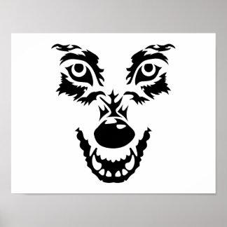 Cara enojada del lobo póster