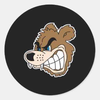 cara enojada del oso el gruñir pegatina redonda