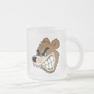 cara enojada del oso el gruñir taza cristal mate