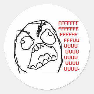 Cara enojada Meme de la rabia de Fuu Fuuu del Pegatina Redonda