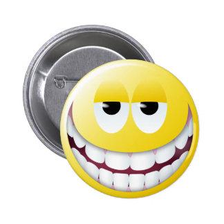 Cara enorme del smiley de la sonrisa pin redondo de 2 pulgadas