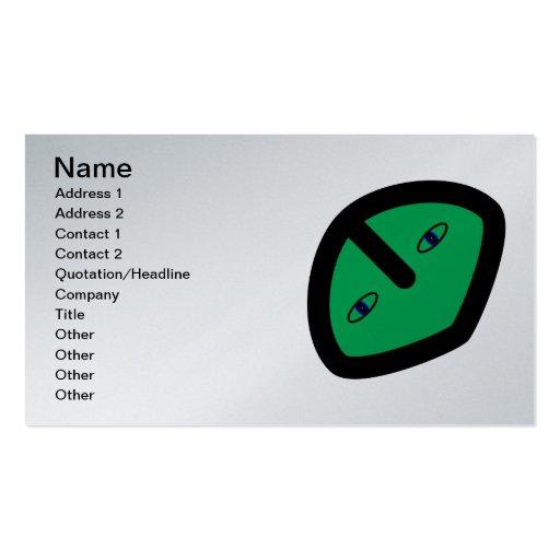 Cara extranjera en verde tarjetas de visita
