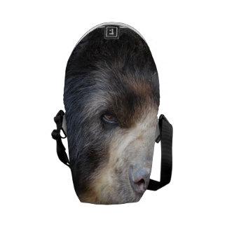 Cara fantástica de un oso negro bolsas messenger