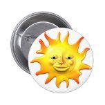 Cara feliz amarilla del smiley del sol pin