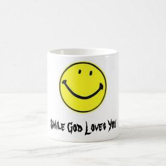 cara feliz, amores de dios de la sonrisa usted taza clásica