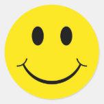 Cara feliz clásica pegatinas redondas