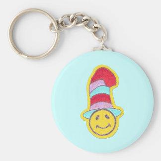Cara feliz colorida del smiley del Hippie Llavero Redondo Tipo Pin