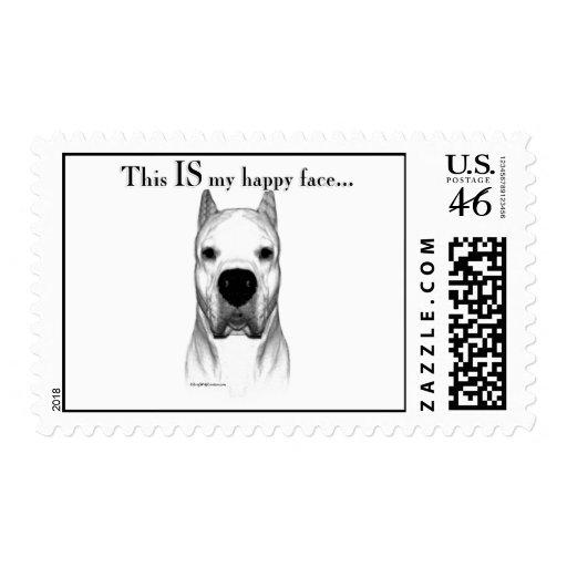 Cara feliz de Dogo Argentino Sellos