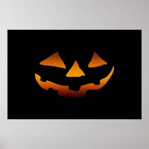 Cara feliz de la calabaza de Halloween Póster