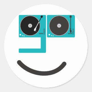 Cara feliz de la placa giratoria pegatina redonda
