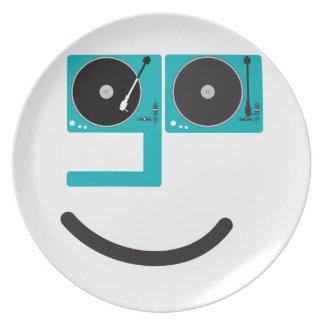 Cara feliz de la placa giratoria plato para fiesta