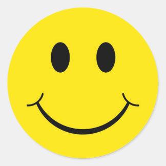 Cara feliz de los años 70 clásicos pegatina redonda