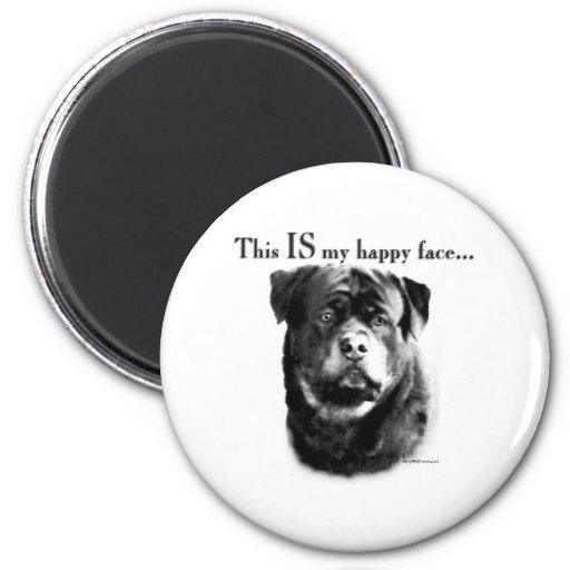 Cara feliz de Rottweiler - imán