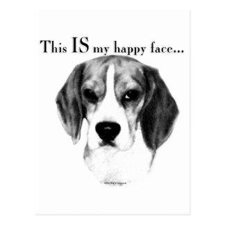 Cara feliz del beagle tarjetas postales