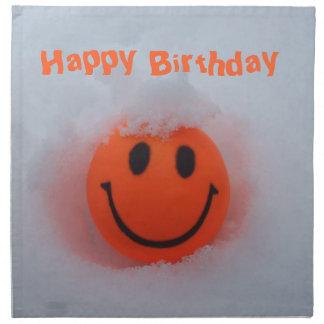 Cara feliz del Cumpleaños-Smiley en nieve Servilleta De Papel