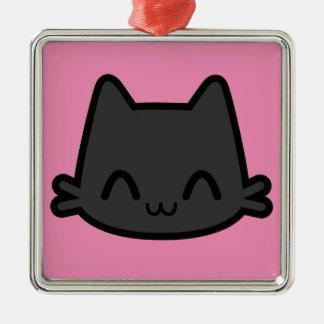 Cara feliz del gato negro en rosa adorno navideño cuadrado de metal