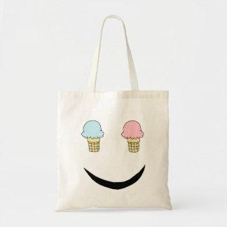 Cara feliz del helado bolsa tela barata
