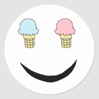 Cara feliz del helado pegatina redonda