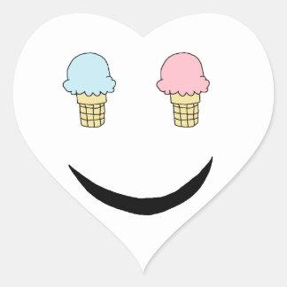 Cara feliz del helado pegatina en forma de corazón