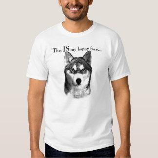 Cara feliz del husky siberiano playeras