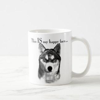 Cara feliz del husky siberiano taza de café