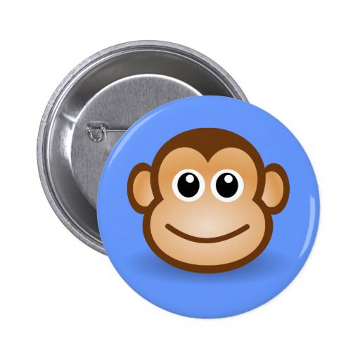 Cara feliz del mono del dibujo animado lindo pin redondo 5 cm