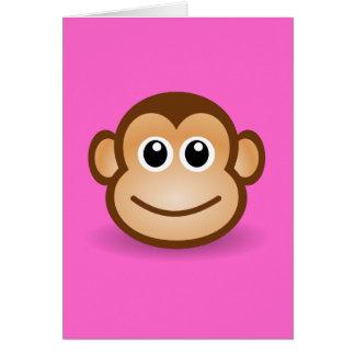 Cara feliz del mono del dibujo animado lindo tarjeta de felicitación