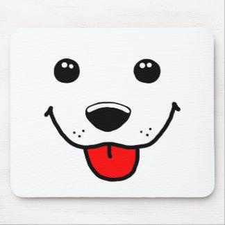 Cara feliz del perrito tapetes de ratón