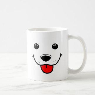 Cara feliz del perrito tazas de café