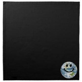 Cara feliz del smiley de la tierra servilletas de papel