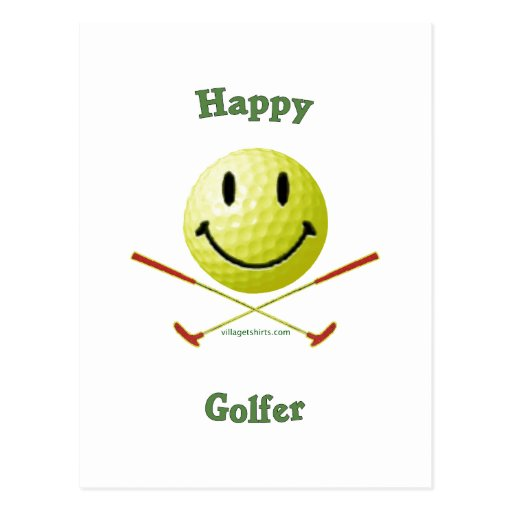 Cara feliz del smiley del golfista postales
