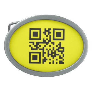 Cara feliz del ☺ sonriente -- Código de QR Hebillas Cinturon Ovales