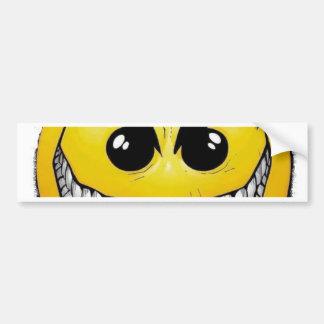 Cara feliz enojada etiqueta de parachoque