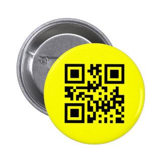 Cara feliz invertida smiley del ☻ -- Código de QR Pin Redondo 5 Cm