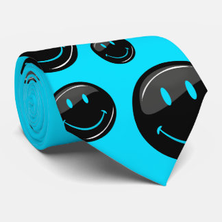 Cara feliz negra de neón del color ajustable corbata personalizada