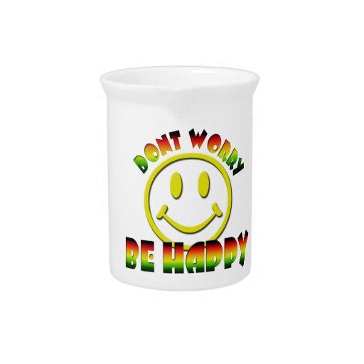 Cara feliz - no se preocupe sea colores felices de jarra de beber