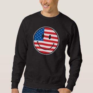 Cara feliz sonriente de la bandera de los E.E.U.U. Sudadera Con Capucha