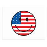 Cara feliz sonriente de la bandera de los E.E.U.U. Tarjetas Postales