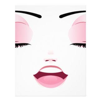 Cara femenina feliz 3 membrete a diseño