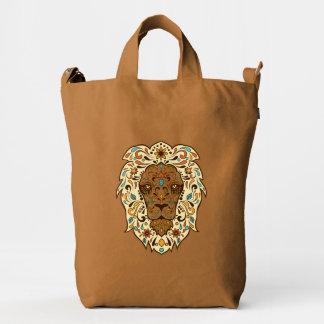 Cara floral colorida linda del león bolsa de lona duck