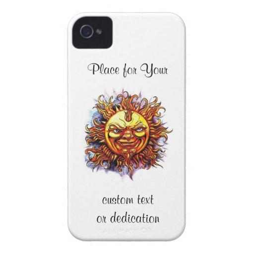 Cara fresca de dios del sol del símbolo del tatuaj iPhone 4 Case-Mate funda