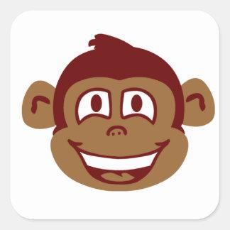Cara fresca del mono pegatina cuadrada