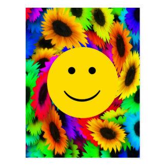 Cara fresca del smiley de las flores tarjetas postales