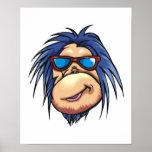 cara fresca loca del mono impresiones