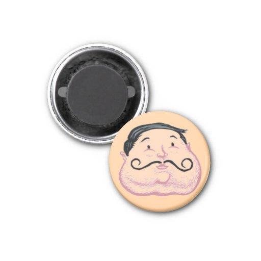 Cara gorda cómica del hombre del vintage imanes para frigoríficos