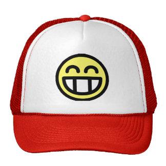 Cara grande amarilla del smiley de la mueca gorro