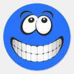 Cara grande azul del smiley de la mueca pegatinas