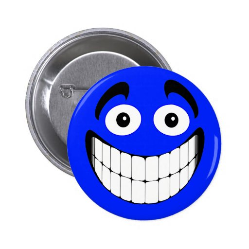 Cara grande azul del smiley de la mueca pins